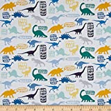 Dear Stella Stellasaurus Stellasaurus White Fabric By The Yard