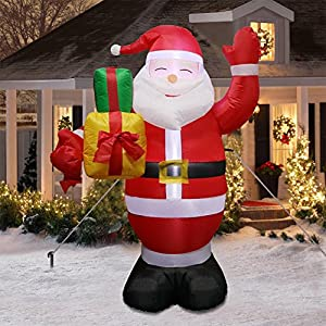 AerWo 5ft Christmas Inflatables Greeting Santa Light, Christmas Blow Up Yard Decor Christmas Inflatables Decoration Outdoor Indoor