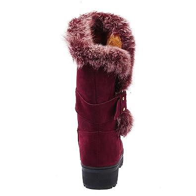 Amazon.com: Mujer Botas Slip-On Nieve Suave Zapatos Ronda ...