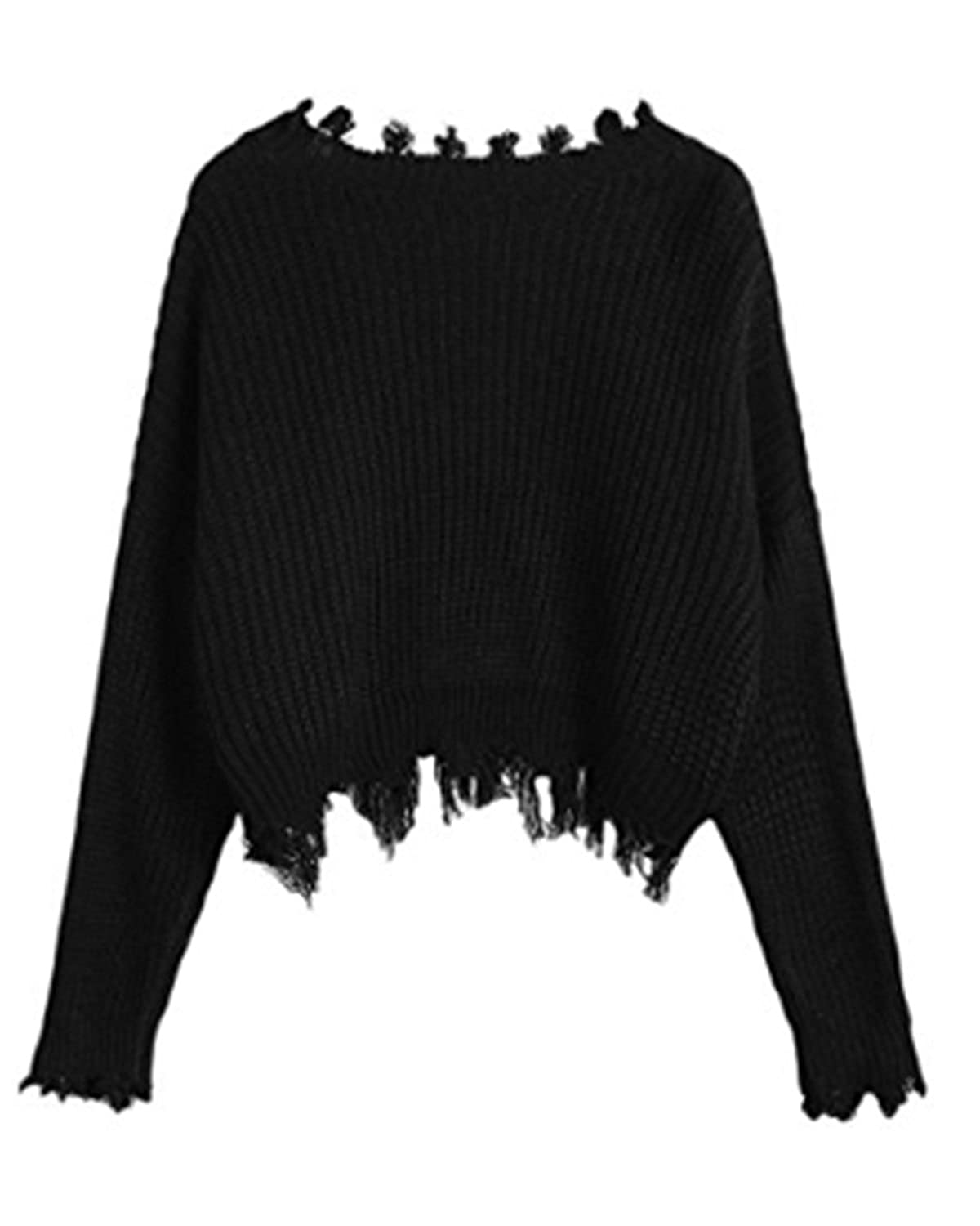19cabd6273aa7 ZAFUL Women s Loose Long Sleeve V-Neck Ripped Pullover Knitted Crop Top  Sweater(Black) at Amazon Women s Clothing store