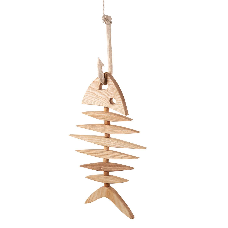 Nordic Dreams Ash Wood Trivet - 10'' x 17'' Fish Bones Skeleton Shape with 8'' Hanging Hook by NORDIC DREAMS