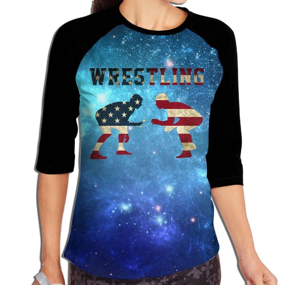 American Wrestling Distressed Womens Or Youth Plain Raglan Shirt 3/4 Sleeve Athletic Baseball XXL
