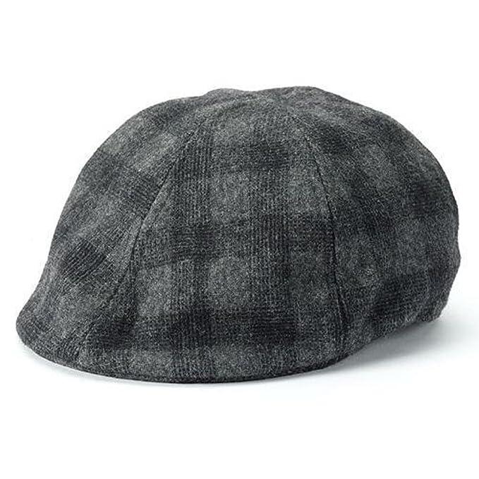 7438b0e4 Apt. 9 Men Plaid Ivy Newsboy Cap Black Gray Charcoal Cabbie Hat Small/  Medium