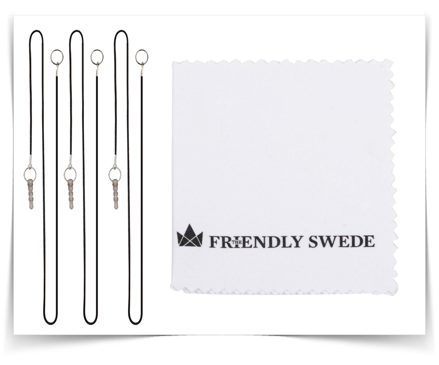 The Friendly Swede Replaceable Micro-Knit Tip Hybrid Stylus with Lanyards Black + White + Dark Blue Cloth and Replacement Tips 3 Pack