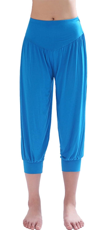 HOEREV Brand Super Soft Modal Spandex Harem Yoga/ Pilates Capri Pants Cropped Pants