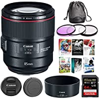Canon EF 85mm f/1.4L IS USM Camera Lens + 64GB Extreme Pro SD Card + 77mm Filter Kit + Corel Editing Software Bundle