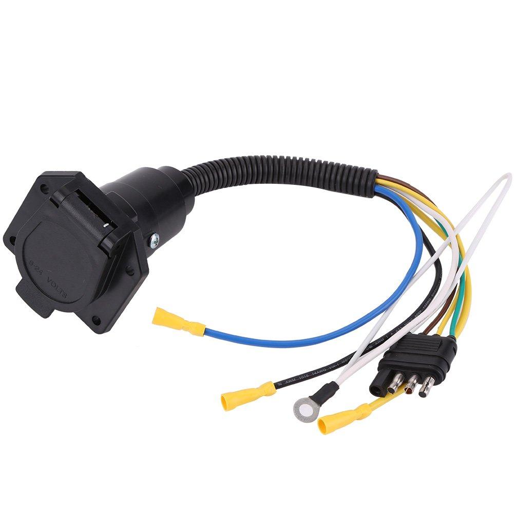 Qiilu 4 to 7 Way Adapter, Trailer Flat Adapter Socket Plug Converter Wire Connector for Caravan Towbar 6-24V