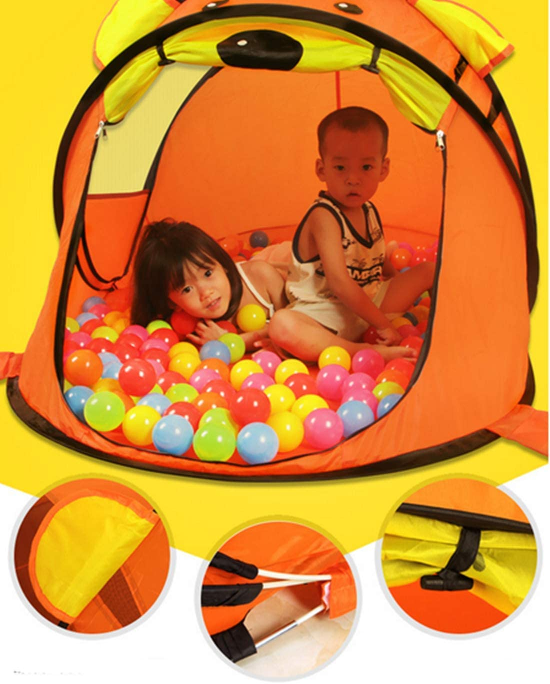 Play House Game Toy Cartoon Indoor Folding Tiger Tent brown Puzzle Interaction Childrens Tent Pop-up Tent