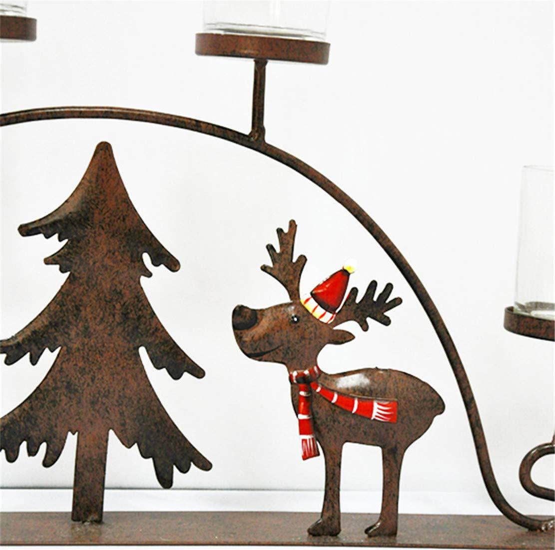 Candles & Holders Home & Garden Iron Art Christmas Elk Pull Car Candlestick Sleigh Candlestick Christmas Gift