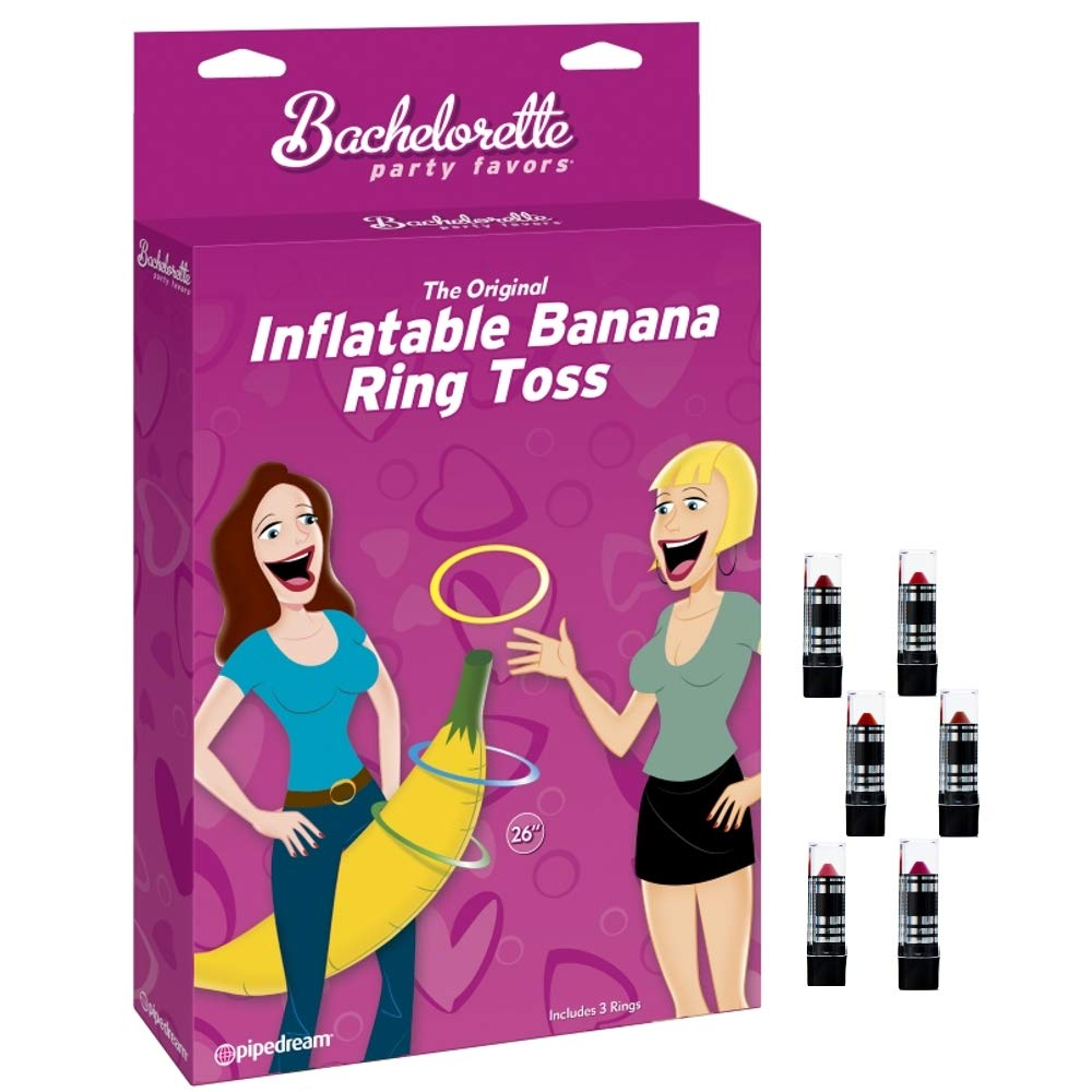 Banana Ring Toss Bachelorette Party Game with 6 IntiMD Hilarious Lipsticks Fun Gag Idea, Novelty Gift Favors for Hen & Bachelorette Parties, Girls Night Out, Bridal Shower