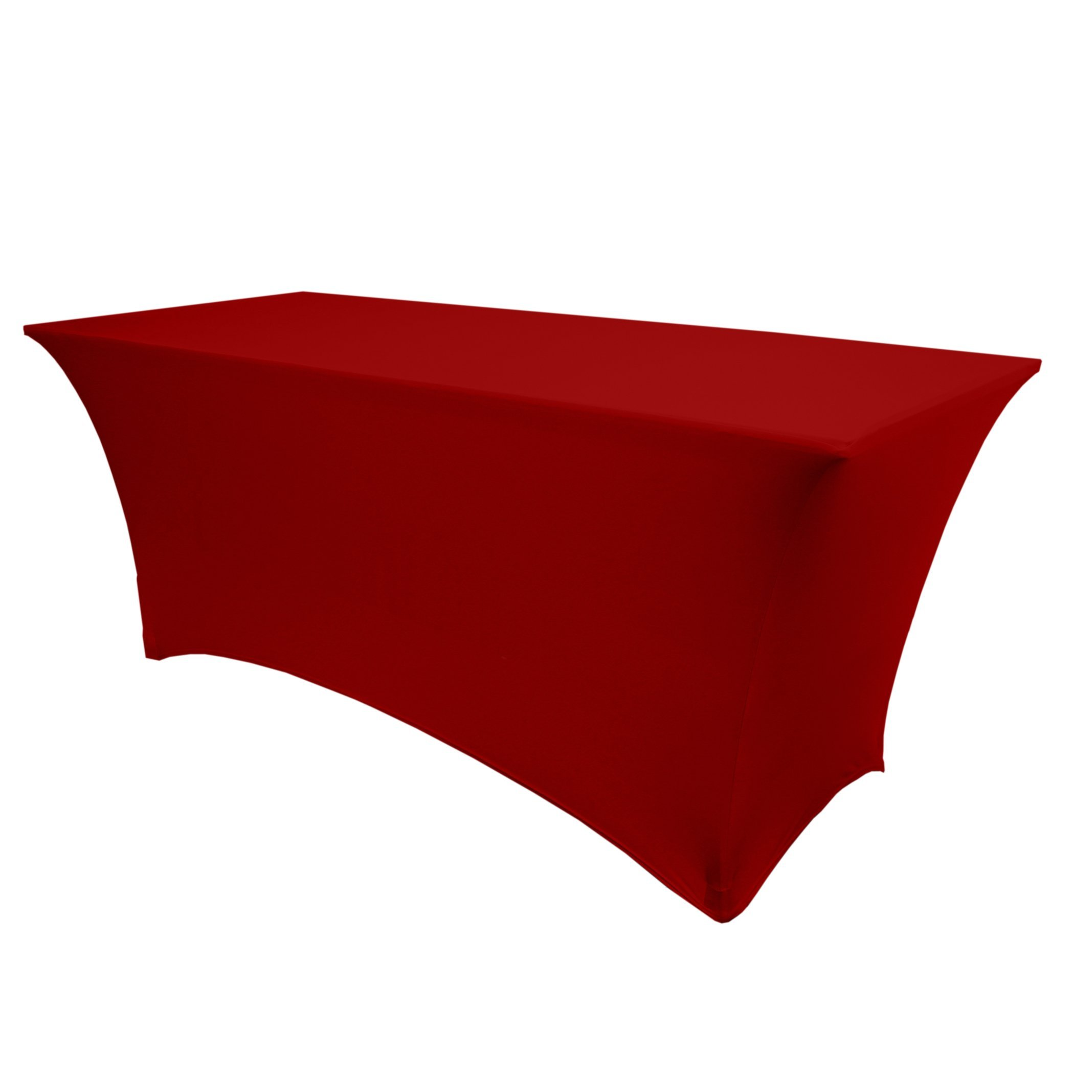 Ultimate Textile (2 Pack) 6 ft. Fitted Spandex Table Cover - for 24 x 72-Inch Banquet and Folding Rectangular Tables, Red