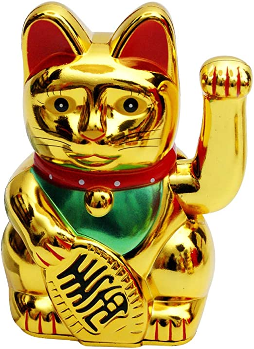Chinese Lucky Fortune Money Waving Gold Maneki-Neko Cat Figure Feng Shui Decor