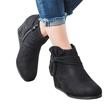 440f3fa75ca2 Amazon.com  Women s Wedge Heels Ankle Booties Platform Knot Bow Side Zipper  Faux Suede Dress Boots  Clothing