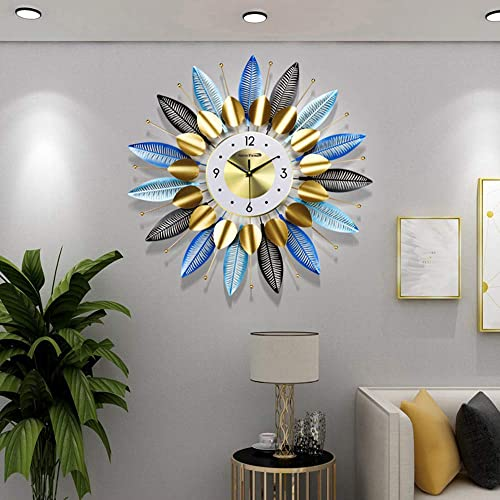 NEOTEND Silent Metal Wall Clock Leaf Non Ticking Modern Wall Clock Large Decorative 3D Clock