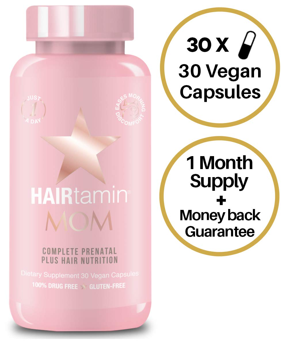 HAIRtamin MOM Vegan Prenatal Vitamins for Women, Natural Multivitamin for Expecting Mothers with Biotin, Probiotics, Vitamin B-6, Iron, Best Post-Natal Vitamin to Promote Healthy Hair & Nails - $29.99