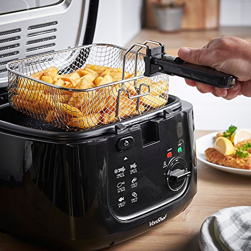 Electric Deep Fat Fryer 2.5L Non Stick Chips Battered Fish Fried Chicken Black