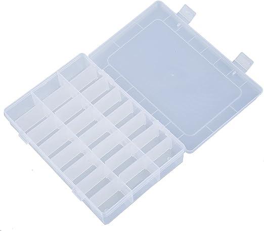 SODIAL(R) Caja Rectangular Claro Transparente Organizador 24 ...
