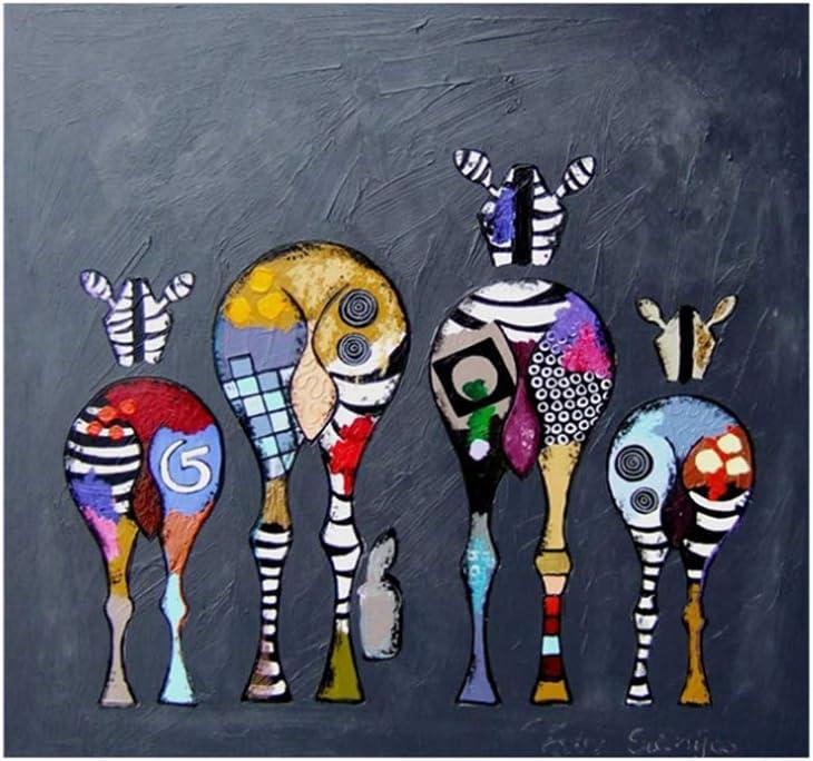 wzgsffs Cuadros Abstractos enmarcados del Arte de la Lona de la Cebra Impresiones Coloridas del Arte Animales africanos Cuadros del arte-50X50cm Marco Interior de Madera