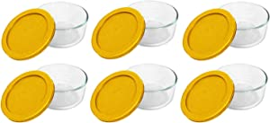 Pyrex Storage Plus 2-Cup Round Glass Food Storage Dish, Yellow Cover (6 Pack)