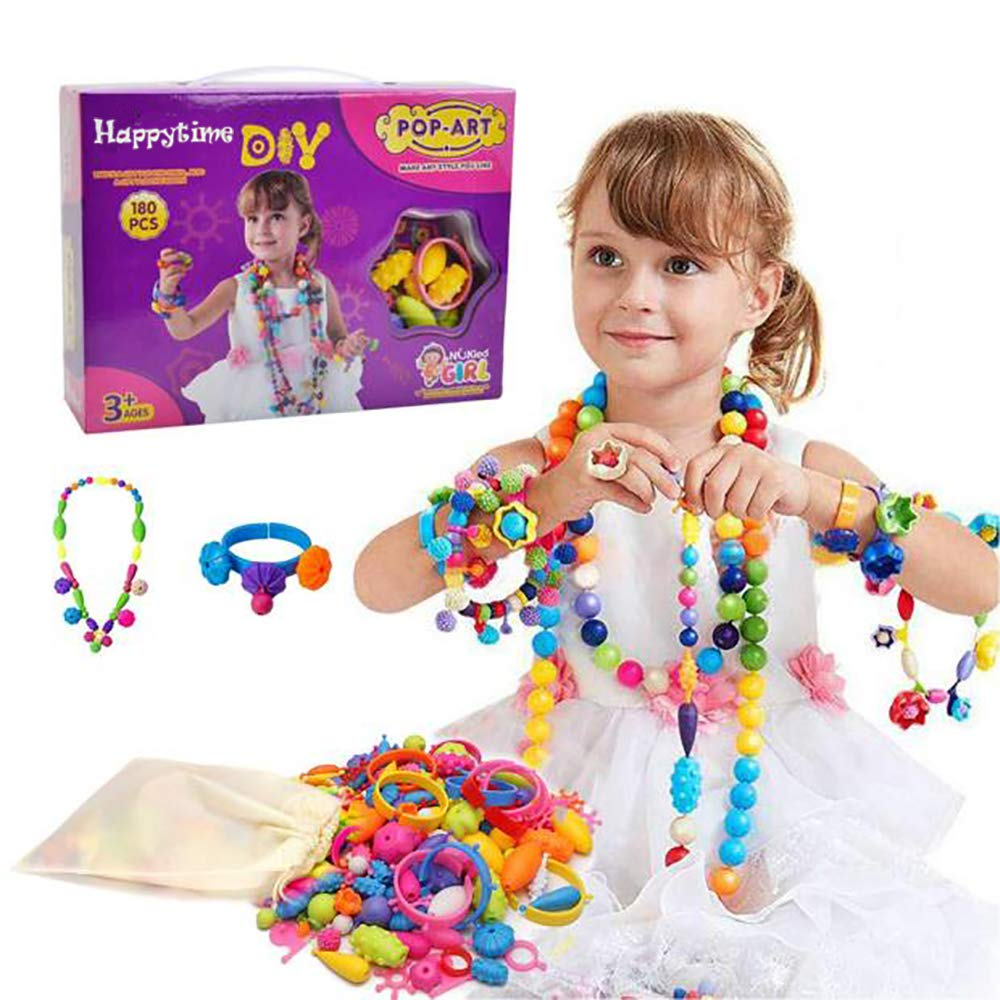 Snap Pop Beads Girls Toy - Happytime 180 Pieces DIY Jewelry Kit Fashion Fun for Necklace Ring Bracelet Art Crafts Toys for 3, 4, 5, 6, 7 ,8 Year Old Kids Girls by Happy Time