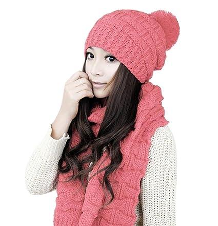 Wa, set con cappello e sciarpa da donna, di lana,