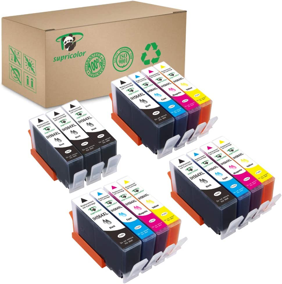 Supricolor Replacement 564xl Ink Cartridges, Compatible Ink for HP 564XL 564 XL Work with Photosmart 7520 5520 6520 6510 7510 7515 C310a DeskJet 3520 3522 (6Black 3 Cyan 3 Magenta 3 Yellow) 15 Pack