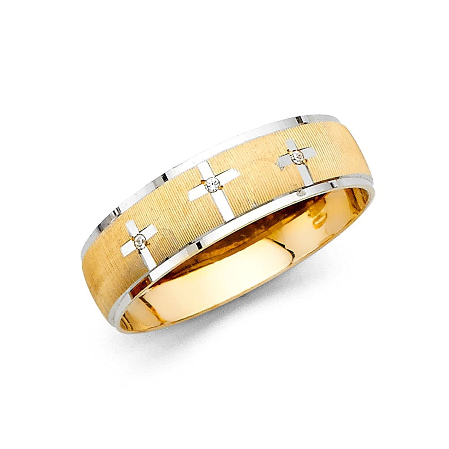 Ioka Jewelry - 14K Two Tone Solid Gold 6mm Men's Cubic Zirconia CZ with 3 Crosses Wedding Band