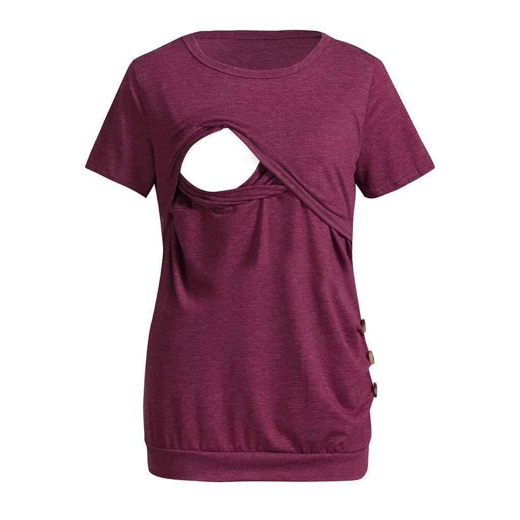 xinxinyu Maternity Breastfeeding Blouses Tops, Nursing Double Layers Round Neck Short Sleeves Button Hem Summer T Shirt Pajamas
