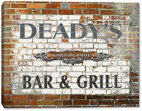 DEADY'S World Famous Bar & Grill Brick Wall Stretched Canvas Print