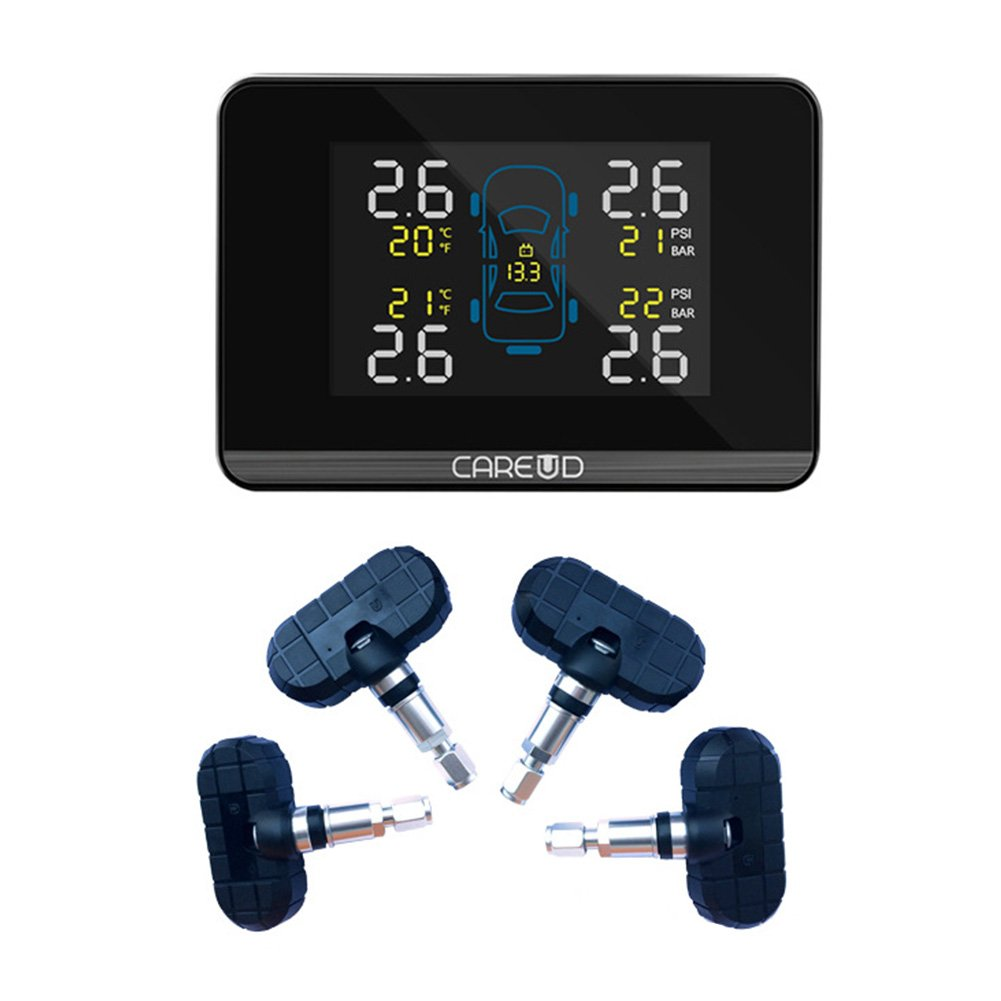Qiyun manometri auto, kit auto, regali per auto, Sistema di monitoraggio della pressione degli pneumatici TPMS senza fili Display LCD digitale con 4 sensori interni