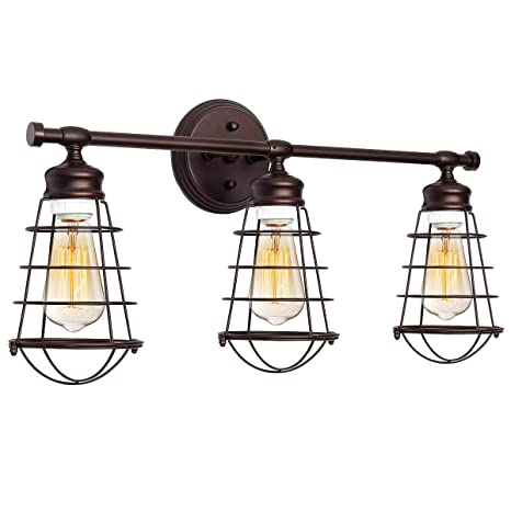 Kingso 3 Light Bathroom Vanity Light Fixture Industrial Wire Cage Wall Sconces Rustic Farmhouse Style Wall Light For Bathroom Living Room Kitchen