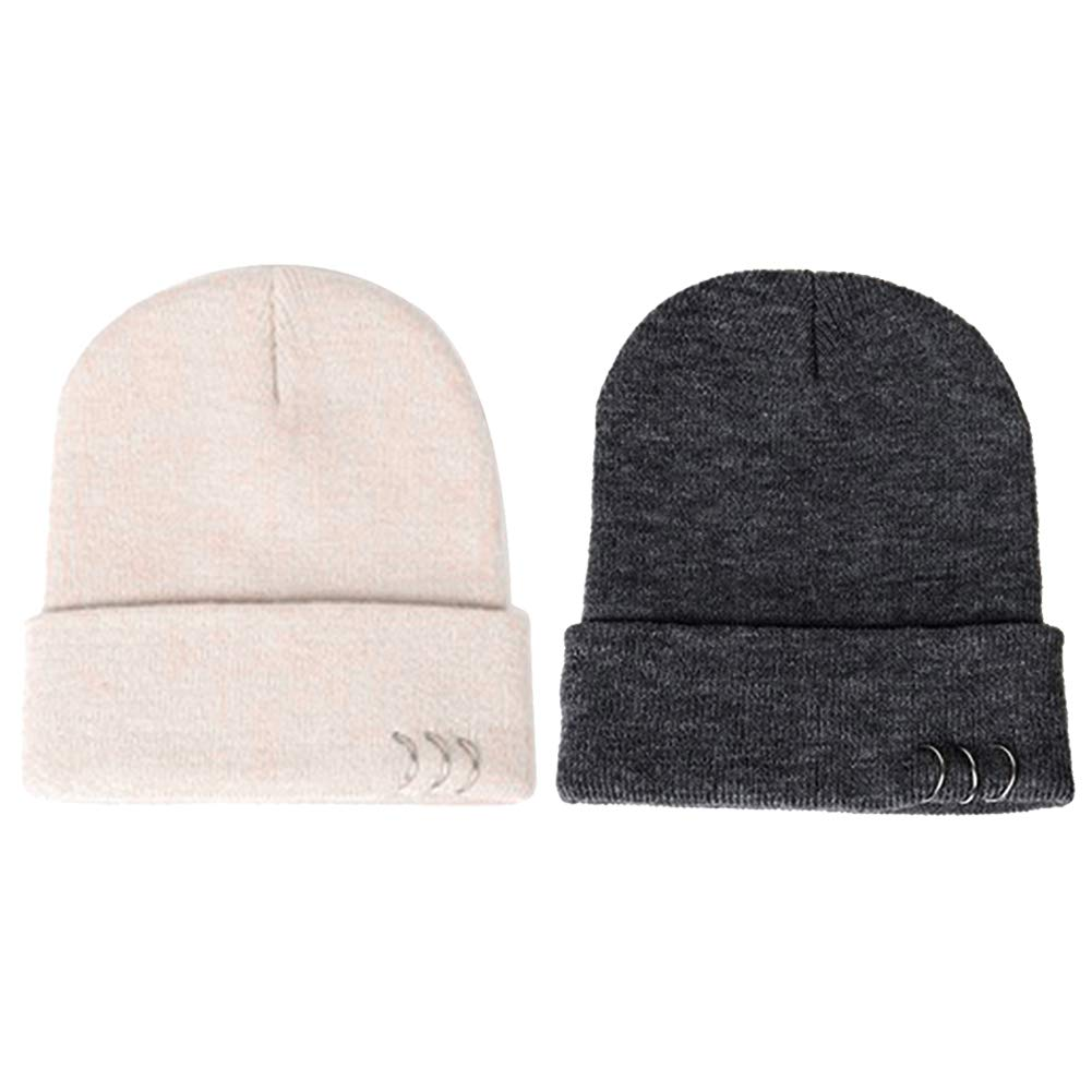 Powerfulline Stylish Women Solid Color Iron Ring Winter Warm Beanie Skull Cap Knitted Hat White