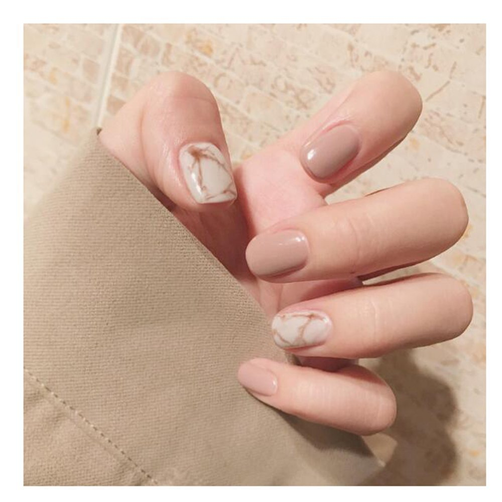 MENILITHS 24pcs Khaki Marble Texture Glossy False Nails Acrylic Artificial Short Full Fake Nails Nail Art Tips for Women and Girls