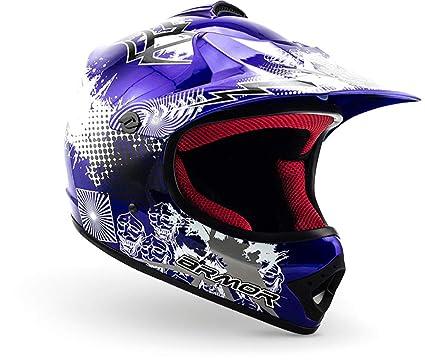 """Armor · AKC-49 """"Blue"""" (blue) · Casco Moto-Cross · Enduro Off-Road Scooter Racing motocicleta NINOS Quad · DOT certificado · Click-n-Secure™ Clip · ..."""
