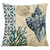 Famibay Decorative Pillow Cover Ocean Park Theme Square Cotton Linen Throw Pillow Case Cushion Cover 18 x 18 (Conch Coral)