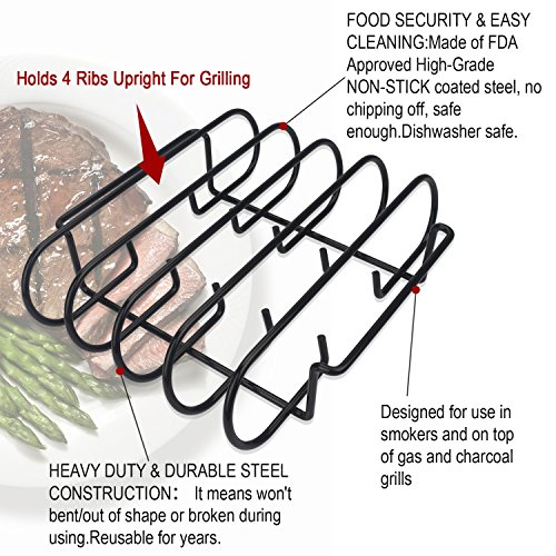 KALREDE Rib Rack BBQ - Non-Stick Rib Holder for Grilling 4 Holds - Heavy Duty Black Grill Racks - Outdoor Barbecue Accessories