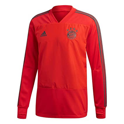 a64719f310c6 adidas FC Bayern Munich 2018 19 Long Sleeve Training Sweat Top - Adult - Red