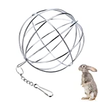 UIEEPGP Stainless Rabbits Feeding Grass Ball,Sphere Treat Hay Dispenser Hanging Ball Feeder Guinea Pig Rabbit Toys for Small Animals