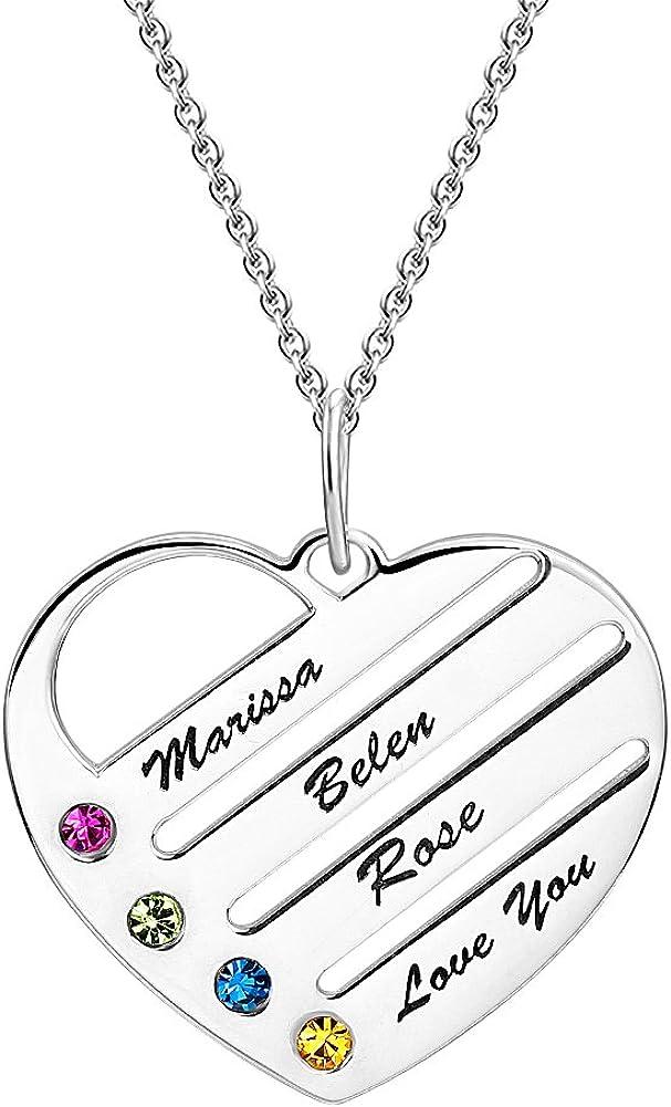 SOUFEEL Collar Plata Colgante con Nombre Personalizados Grabado en Forma de Corazón Joya Mujer Regalo para Familia Novia Cumpleaño Cadena Más Extención