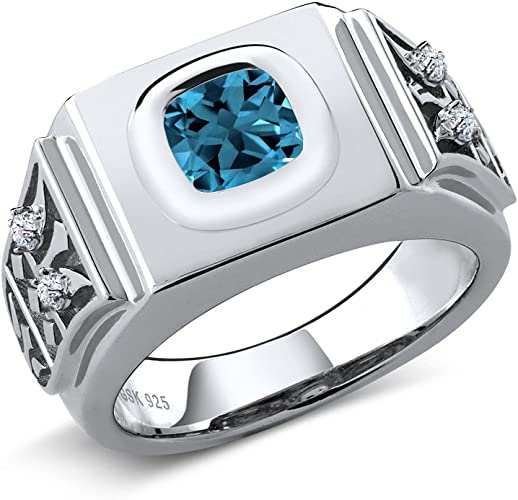 2.86 Ct Cushion London Blue Topaz 925 Sterling Silver Ring