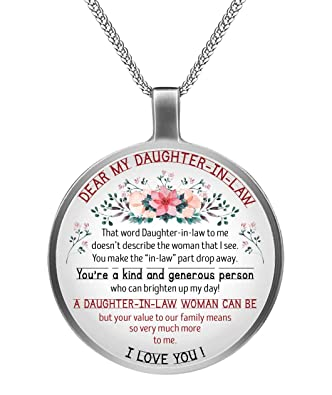Amazon Dear My Daughter In Law Inspirational Circle Necklace Birthday Graduation Gift Best Souvenirs For Mother Day Father Jewelry
