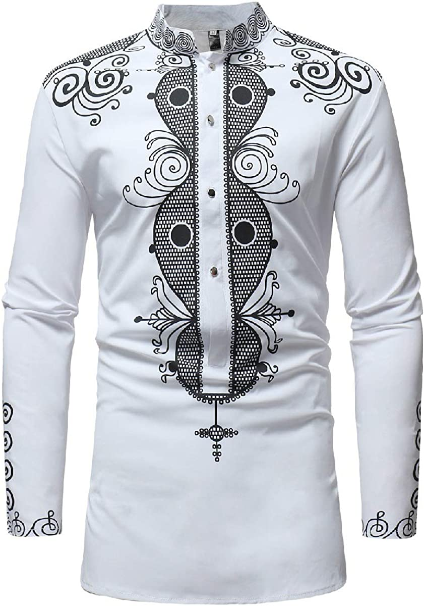 Yusky Mens Flower Print Plus-Size African Botton Front Dress Shirts