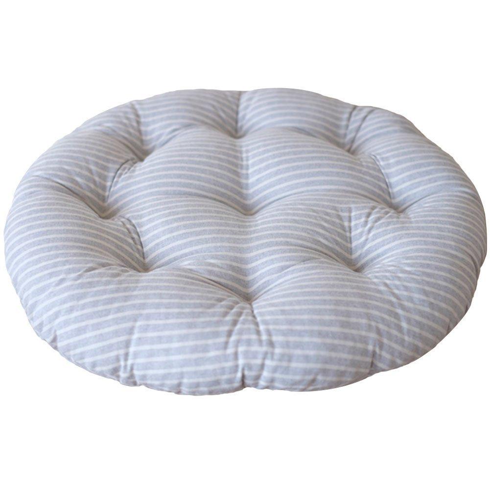Da Jia Inc 22.9x22.8 Japanese Style Linen Zafu Meditation Yoga Bolster Tatami Cushion for Home Car Office Floor Round Cushion(Orange)