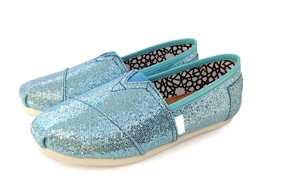 Playworld Womens Classic Sequin Slip On Shoes Ballerina Ballet Flats Loafers B01BS50KTG 5.5 B(M) US|Skyblue