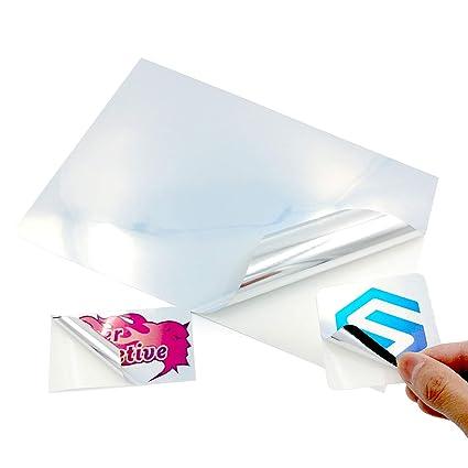 20 hojas de vinilo brillante A4 impermeable metálico perlado plata calcomanía hoja fuerte autoadhesiva calidad Inkjet y láser imprimible – Impresión ...