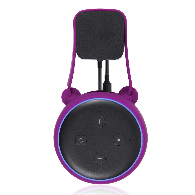 Vococal Support Mural pour Fixation Murale en Silicone Support de Support d/économie despace Compatible avec  Echo Dot 3 Accessoires de Haut-parleurs intelligents Noir