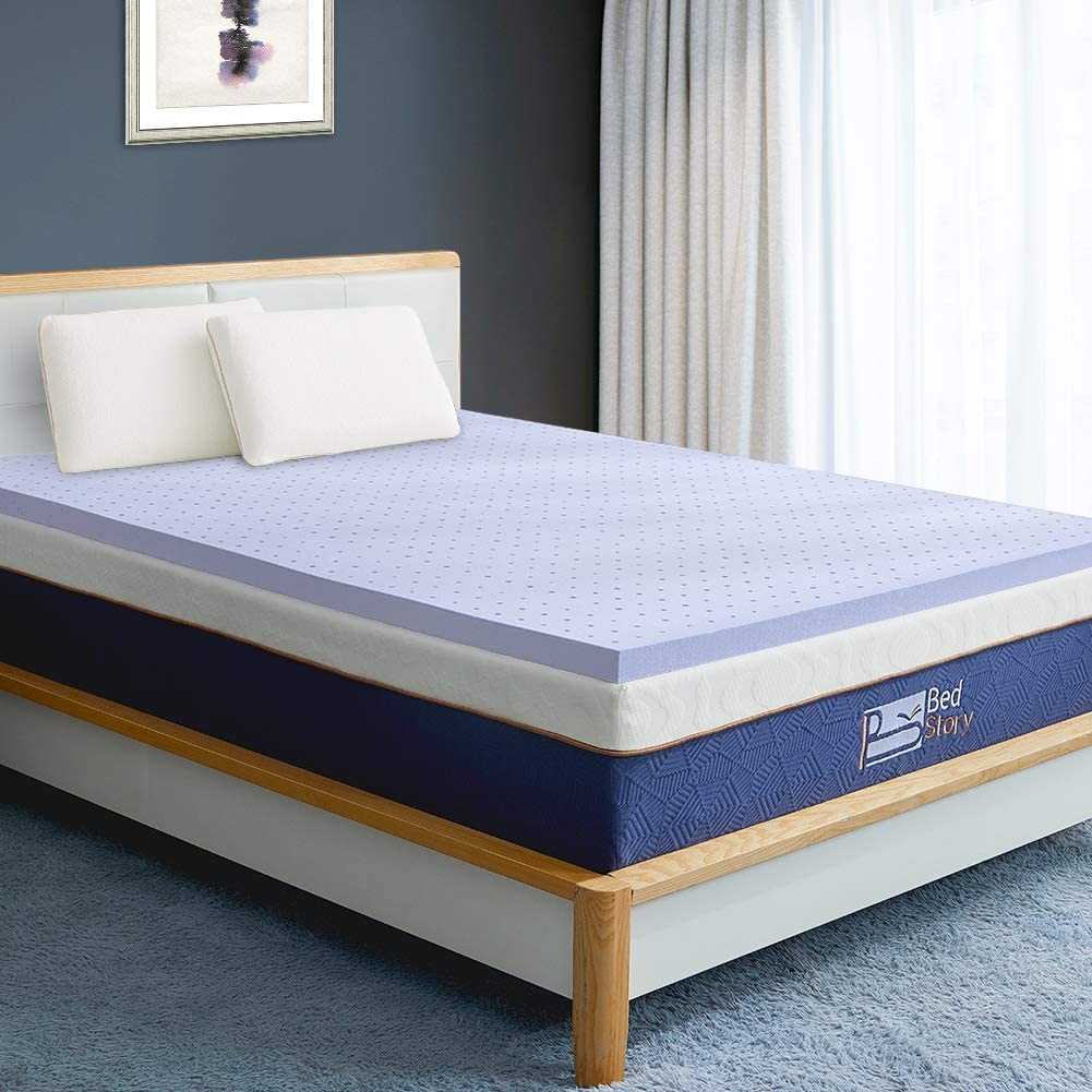 BedStory Memory Foam Mattress Topper Twin, 3 Inch Lavender Infused Foam Mattress with Microfiber Fitted Cover, Memory Foam Mattress Pad Bed Topper with CertiPUR-US, Ventilated Design