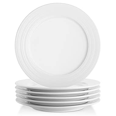 Lifver 10-inch Porcelain Dinner Plates/Serving Platters with Embossed Ring Rim, White, Set of 6