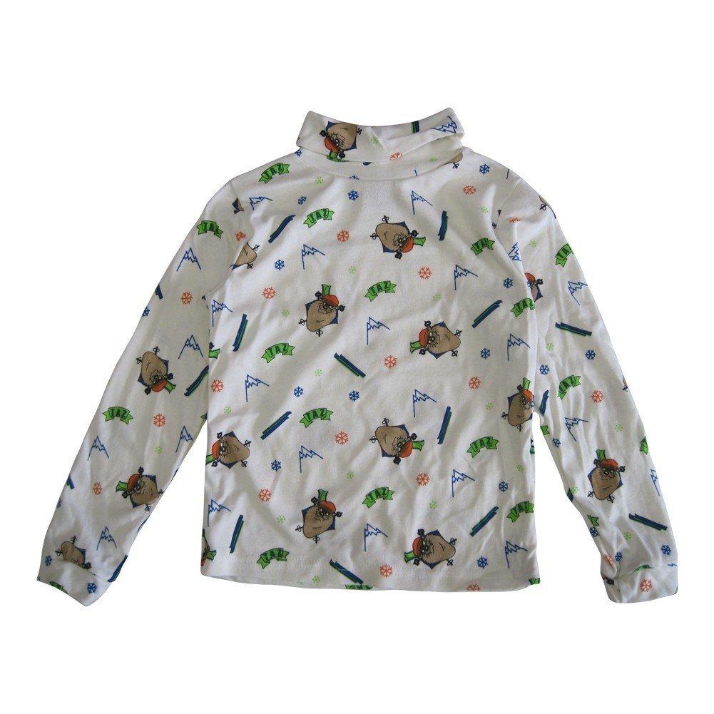 WB Little Girls Boys Bone White Taz Print Allover Funnel Neck Shirt