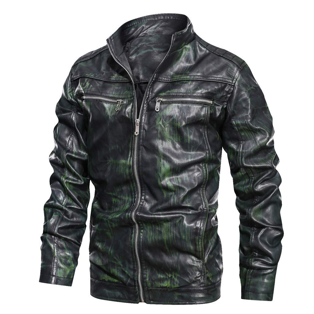 Men's Faux Leather Jacket Vintage Gradient Color Stand Collar Light-Fleece Lined Motorcycle PU Leather Outwear Coat Green by SSYUNO-men tops